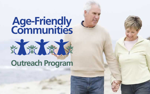 Age Friendly Communities Initiative log and photo of couple outdoors